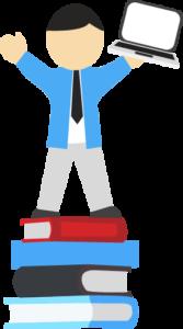 Bobby Classification : mascotte de Customs Bridge debout sur une piste de livres, mains levées, un ordinateur dans la main